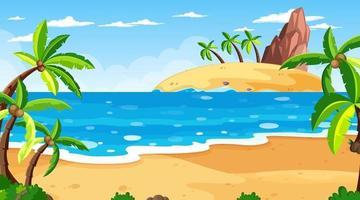 scena di spiaggia tropicale con molte palme durante il giorno vettore