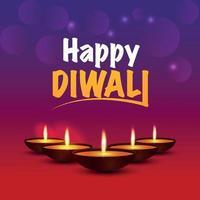 felice diwali il festival della luce biglietto di auguri con diwali diya vettore