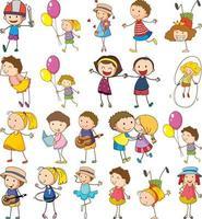 set di bambini diversi in stile doodle vettore