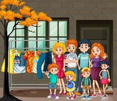 famiglia felice nella scena del soggiorno vettore