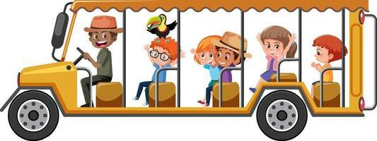 concetto di zoo con bambini in automobile turistica isolato su sfondo bianco vettore
