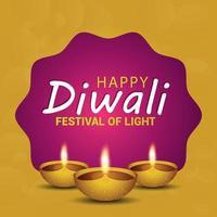 felice diwali il festival della luce con diwali diya creativo su sfondo giallo vettore