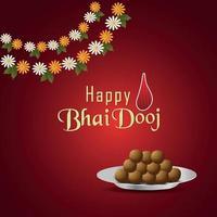 felice biglietto di auguri invito bhai dooj con illustrazione creativa e dolci vettore