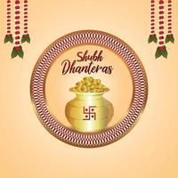 felice dhanteras il festival della cartolina d'auguri dell'invito dell'india con l'illustrazione di vettore della pentola della moneta d'oro