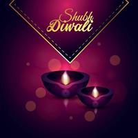 illustrazione creativa di felice biglietto di auguri diwali vettore
