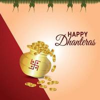 felice dhanteras celebrazione biglietto di auguri con creativo pentola moneta d'oro e diwali diya vettore