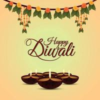 biglietto di auguri felice festival indiano di diwali con diwali diya vettore