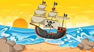 scena della spiaggia al tramonto con la nave pirata in stile cartone animato vettore