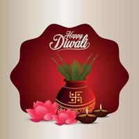 felice sfondo di celebrazione del festival di diwali con kalash e diya creativi vettore