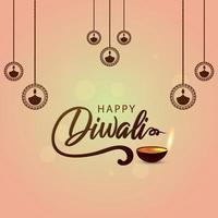 felice festival indiano di diwali con diwali diya creativo vettore