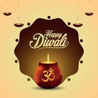 biglietto di auguri di invito di diwali felice festival indiano con illustrazione vettoriale e sfondo