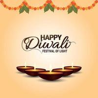 il festival della luce felice diwali celebrazione biglietto di auguri con ghirlanda di fiori e diwali diya vettore
