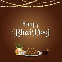 tradizionale festival indiano felice bhai dooj celebrazione biglietto di auguri vettore