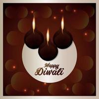 diwali il festival della luce, biglietto di auguri per la celebrazione del festival dell'india con diwali diya vettore