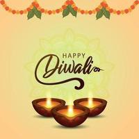felice diwali il festival della cartolina d'auguri di celebrazione della luce con diwali diya creativo vettore