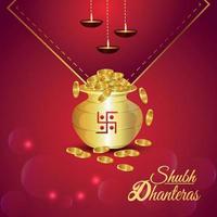 illustrazione vettoriale creativa di shubh dhanteras celebrazione biglietto di auguri con pentola moneta d'oro creativa