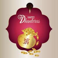 felice dhanteras biglietto di auguri per la celebrazione del festival indiano con pentola di monete d'oro vettore