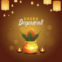 felice diwali festival della luce celebrazione biglietto di auguri con kalash dorato creativo vettore
