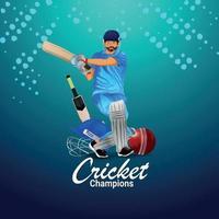 sfondo del torneo campionato di cricket con illustrazione creativa vettore