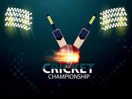 partita del torneo del campionato del mondo con attrezzatura da cricket e sfondo dello stadio vettore
