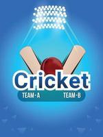 partita di cricket dal vivo con sfondo dello stadio e attrezzatura da cricket vettore