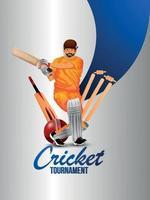 illustrazione vettoriale di giocatore di cricket e attrezzature per il torneo di cricket