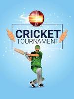 partita di campionato di cricket con illustrazione vettoriale di giocatore di cricket e palla di fuoco