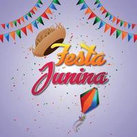 festa junina evento brasiliano con elementi creativi e bandiera e sfondo della festa vettore