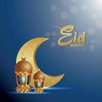 eid mubarak effetto testo dorato con lanterna araba e luna d'oro vettore