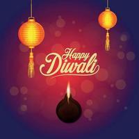 felice diwali celebrazione biglietto di auguri diwali il festival della luce con lampada diwali e diya vettore