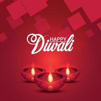 felice illustrazione vettoriale diwali e pattern di sfondo con diwali diya