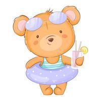 simpatico orsetto in costume da bagno che tiene il succo vettore