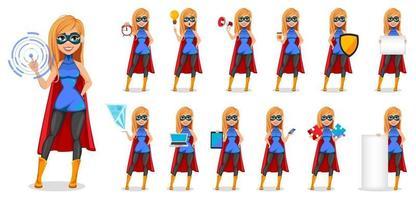 donna di successo che indossa il costume da supereroe vettore