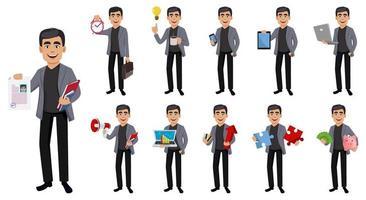 personaggio dei cartoni animati di uomo d'affari bello vettore