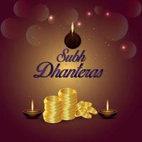 illustrazione creativa della cartolina d'auguri di celebrazione di shubh dhanteras con diwali diya e moneta d'oro vettore