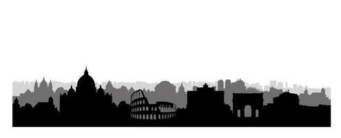 sagoma di edifici della città di roma. paesaggio urbano italiano. paesaggio urbano di Roma con punti di riferimento. sfondo skyline di viaggio italia. carta da parati vacanza in europa. vettore
