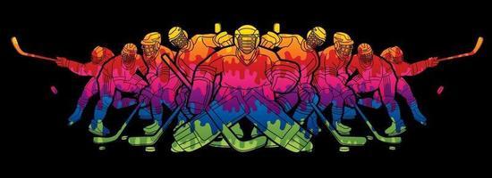 squadra di giocatori di hockey su ghiaccio maschile vettore