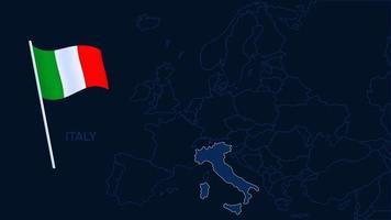 italia sulla mappa europa illustrazione vettoriale. Mappa di alta qualità dell'Europa con i confini delle regioni su sfondo scuro con bandiera nazionale. vettore