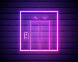 icona dell'ascensore. elementi di hotel in icone in stile neon. icona semplice per siti Web, web design, app mobile, grafica di informazioni isolata sul muro di mattoni vettore