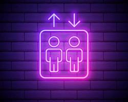 icona dell'ascensore. elementi di hotel in icone in stile neon. icona semplice per siti Web, web design, app mobile, infografiche isolato su muro di mattoni vettore