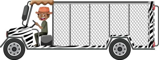 concetto di zoo con autista uomo guida auto gabbia isolata vettore