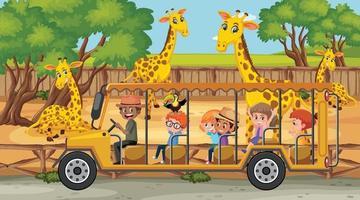 scena di safari con molte giraffe e bambini in auto turistica vettore