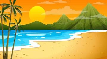 spiaggia alla scena del paesaggio di tempo del tramonto con sfondo di montagna vettore