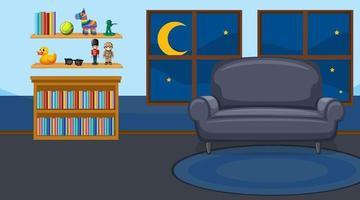 interno soggiorno con mobili in tema di colore blu vettore