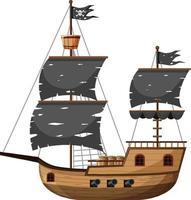 nave pirata in stile cartone animato isolato su sfondo bianco vettore