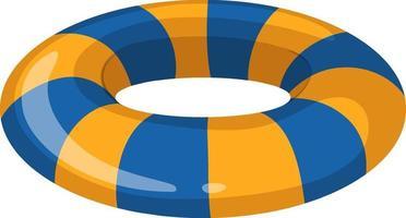 anello di nuoto a strisce blu e giallo isolato vettore