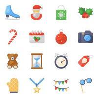 set di icone di decorazioni natalizie natalizie vettore