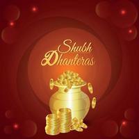 shubh dhanteras illustrazione vettoriale di pentola moneta d'oro