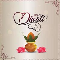 disegno vettoriale creativo di diwali felice con kalash creativo e fiore di loto