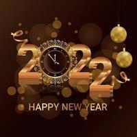 felice anno nuovo 2022 biglietto di auguri di invito con palline di partito di vettore creativo
